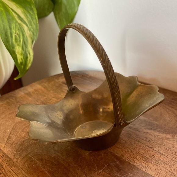 Vintage Mini Brass Gathering Flower Basket
